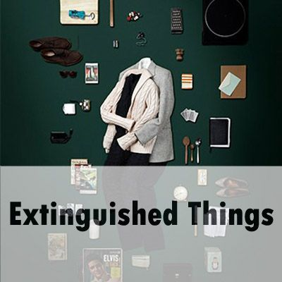 "On a green background, a series of items including a pair of shoes, a record player, a notebook, some spoons, books, playing cards, sunglasses and keys lay around two sets of outfits that are styled as if being worn by two people lying together. There are no people in the outfits however. Over the top of this, ""Extinguished Things"", the title of the show, is written."