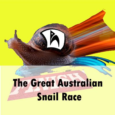 A goofy photo collage of an actual snail with a painted rainbow coloured trail crossing a photograph of a 'finish' line, pasted against a bright solid-yellow background. Pasted on the snail's shell is the Holden Street Theatres Logo of a black and white church arch. At the base of the image is written 'The Great Australian Snail Race'.