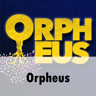 """ORPHEUS"" is written in a graphic arrangement of bold, capitalised letters in bright yellow against a dark blue background. The letters ""ORPH"" are stacked on top of the letters ""EUS"". Below the letter ""O"" a trunk of a tree extends with a network of branches and oak leaves. At the base of the image is written 'Orpheus'."